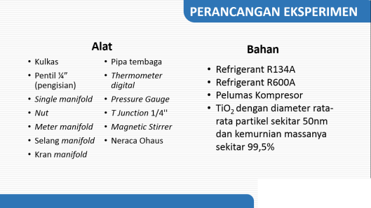 Alat dan bahan yang digunakan dalam penelitian nanorefrigerant TiO2-R600A