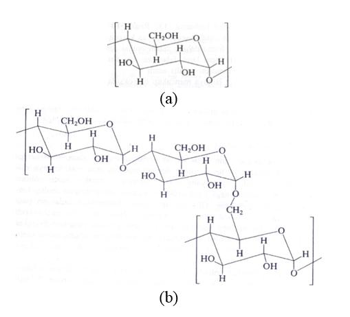 Gambar 1Gugus penyusun pati: (a) amilosa, (b) amilopektin (Stevens, 2001)